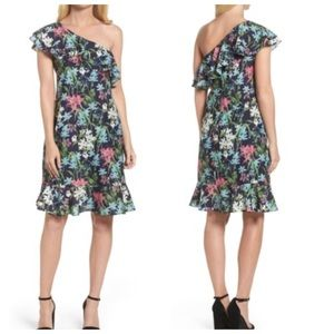Chelsea28 Floral Print Ruffle One Shoulder Dress